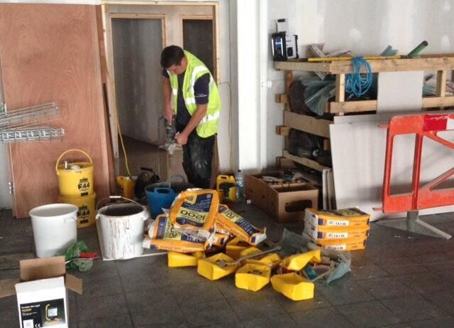 Wadhurst Nisa Local Store. Laying their new flooring using @FBallUK products.