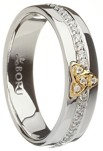 Silver and 10k Gold Trinity Stone Set Ring at Claddaghrings.com #valentinesdaygifts #silverjewelry $149.00