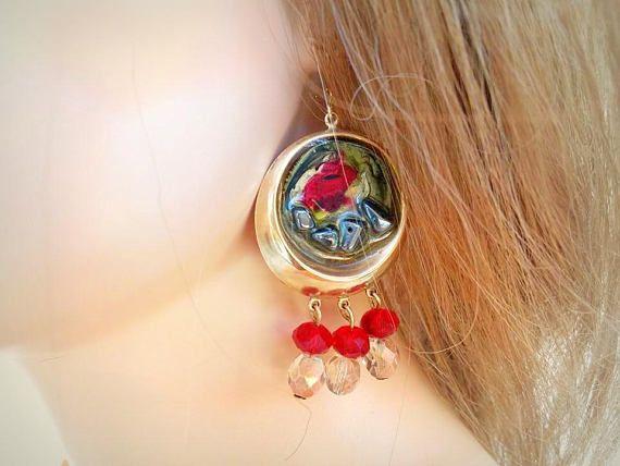 On SALE 30% Enamel Chantelier earring Autumn earrings