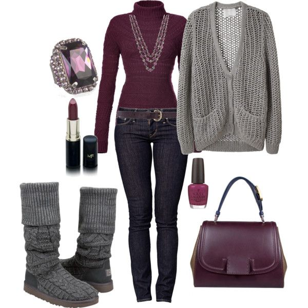 So close to being a Type 2 outfit! Love the comfy grey Uggs. Burgundy and grey! <3 Soft Summer.