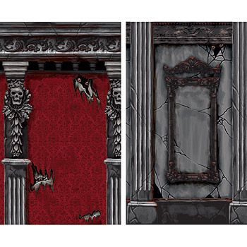 Gothic Mansion Scene Setter Room Roll 4' by 20', two pieces.  $20.  A great way to camouflage you walls and make them look like a Haunted Mansion.