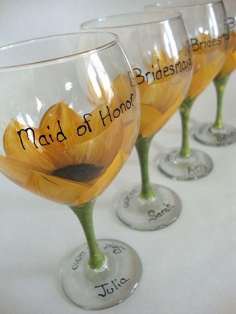 Sunflower Bridal Party wine Glasses by judipaintedit, via Flickr