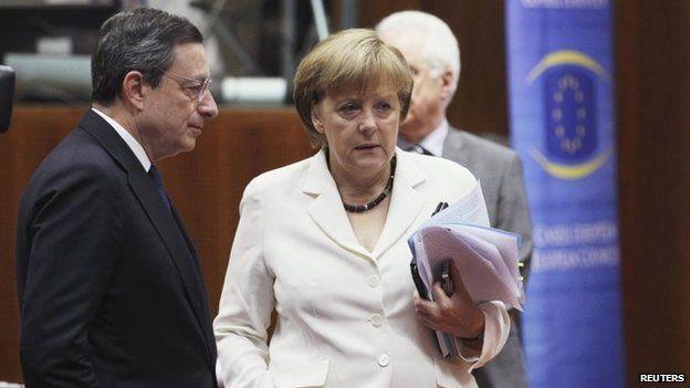 Eurozone economy slows further: http://goo.gl/XHT1bN - Mario Draghi and Angela Merkel