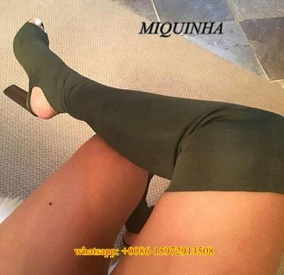 Hottest Women Stretch Fabric Boots Sock Jersey Over The Knee Elastic Material Sexy Slim Fit Boots Chunky Heel Thigh High Boots