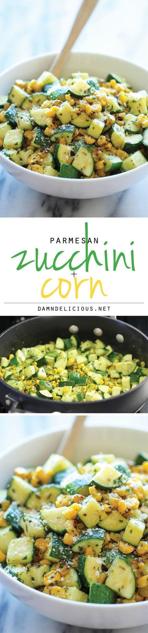 Parmesan Zucchini and Corn Vegetable Side Dish Recipe via Damn Delicious - A healthy 10 minute side dish to dress up any meal. It's so simple yet full of flavor!