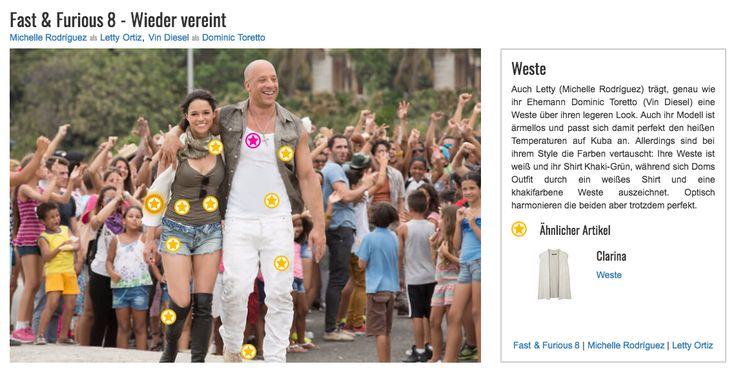 Auch Letty (Michelle Rodríguez) trägt, genau wie ihr Ehemann Dominic Toretto (Vin Diesel) eine Weste über ihren legeren Look. Auch ihr Modell ist ärmellos und passt sich damit perfekt den heißen Temperaturen auf Kuba an. Allerdings sind bei ihrem Style die Farben vertauscht: Ihre Weste ist weiß und ihr Shirt Khaki-Grün, während sich Doms Outfit durch ein weißes Shirt und eine khakifarbene Weste auszeichnet. Optisch harmonieren die beiden aber trotzdem perfekt.
