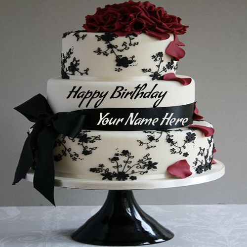Write Name On Birthday Cake Pic Wrapped By Ribbon.Happy Birthday Greetings With