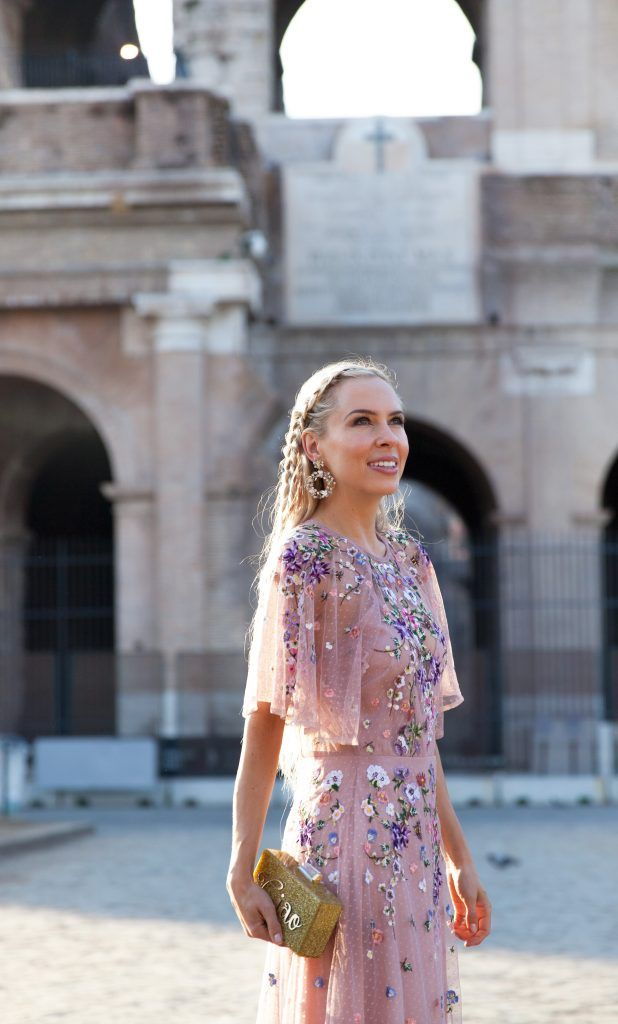 c1a995f659a Colosseum Rome ASOS DESIGN Bridesmaid floral embroidered dobby mesh flutter  sleeve maxi dress