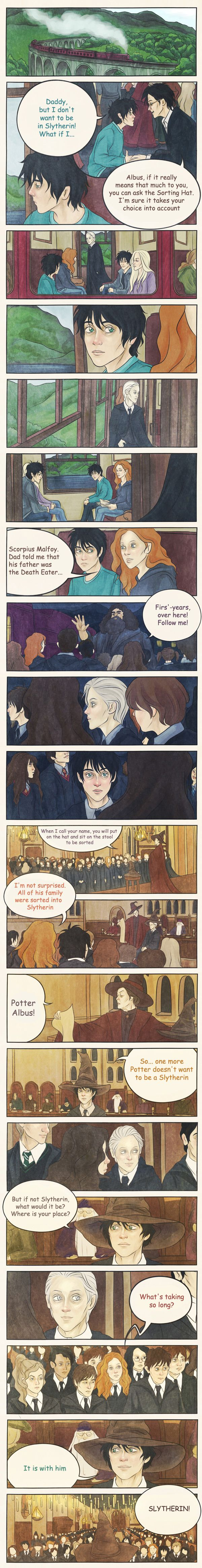 Not Slytherin? by AnastasiaMantihora.deviantart.com on @deviantART. The sorting of Albus Severus Potter. Aww