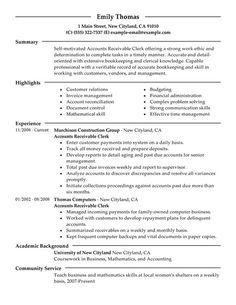 Accounts Receivable Clerk Resume Sample