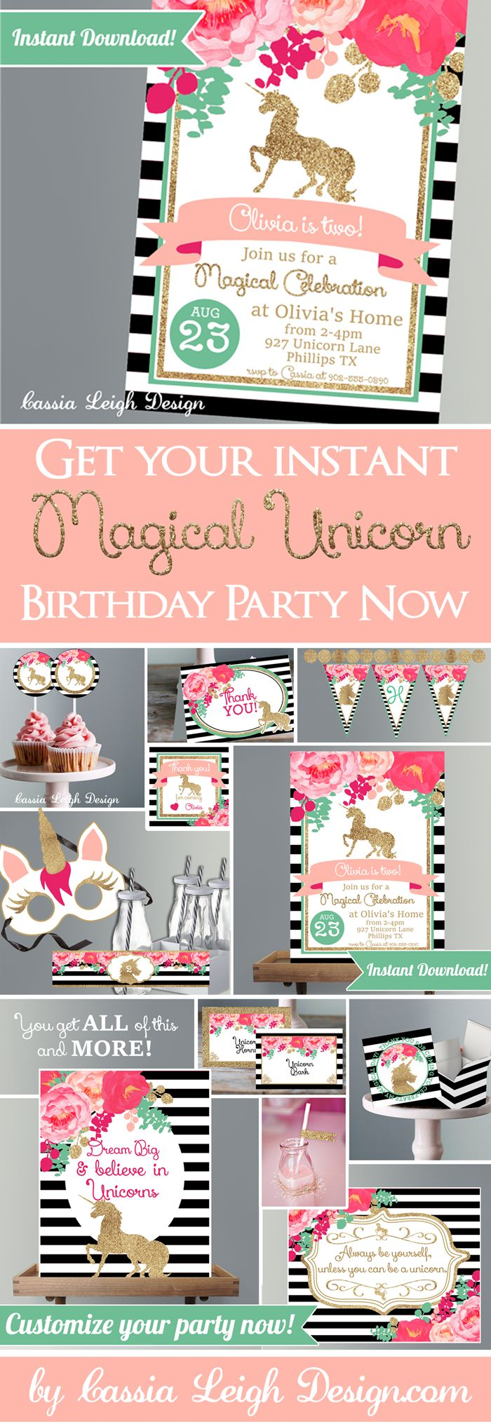 These Unicorn Birthday Party Invitations and Decorations - Pink Black and White with Glitter are not only UNIQUE and beautiful, but they can be INSTANTLY downloaded, so your Unicorn Birthday can be both stunning AND simple to host! ►►INSTANT DOWNLOAD!! EDIT WITH LATEST VERSION OF ADOBE READER!! PRINT AT HOME!! This listing is for the digital file of the full printable collection of the Unicorn Birthday Party Invitations and Decorations - Pink Black and White with Glitter - Unicorn…