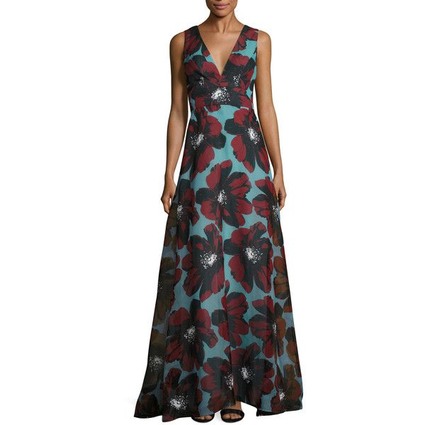 Carolina Herrera Women's Silk Floral Printed Gown - Size 4 ($1,869) ❤ liked on Polyvore featuring dresses, gowns, multi, floral print dress, silk evening gowns, floral dresses, floral evening dresses and floral print evening gown