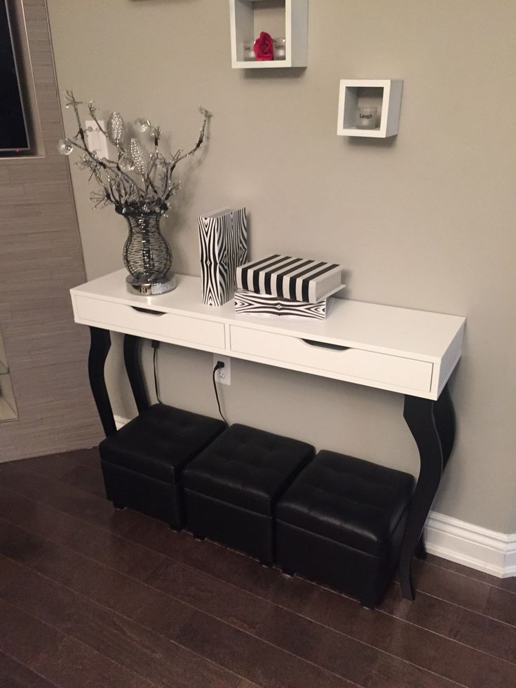Appealing Console Tables Ikea For Home Furniture Ideas: White Console Tables Ikea With 3 Stools And Wooden Floor For Home Decoration Ideas