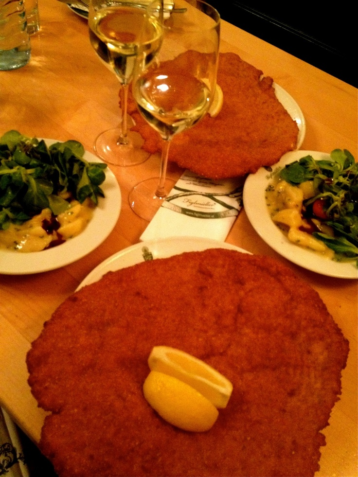 I had to dine at Figlmuller's and have their famous Schnitzel with styria pumpkin seed oil.