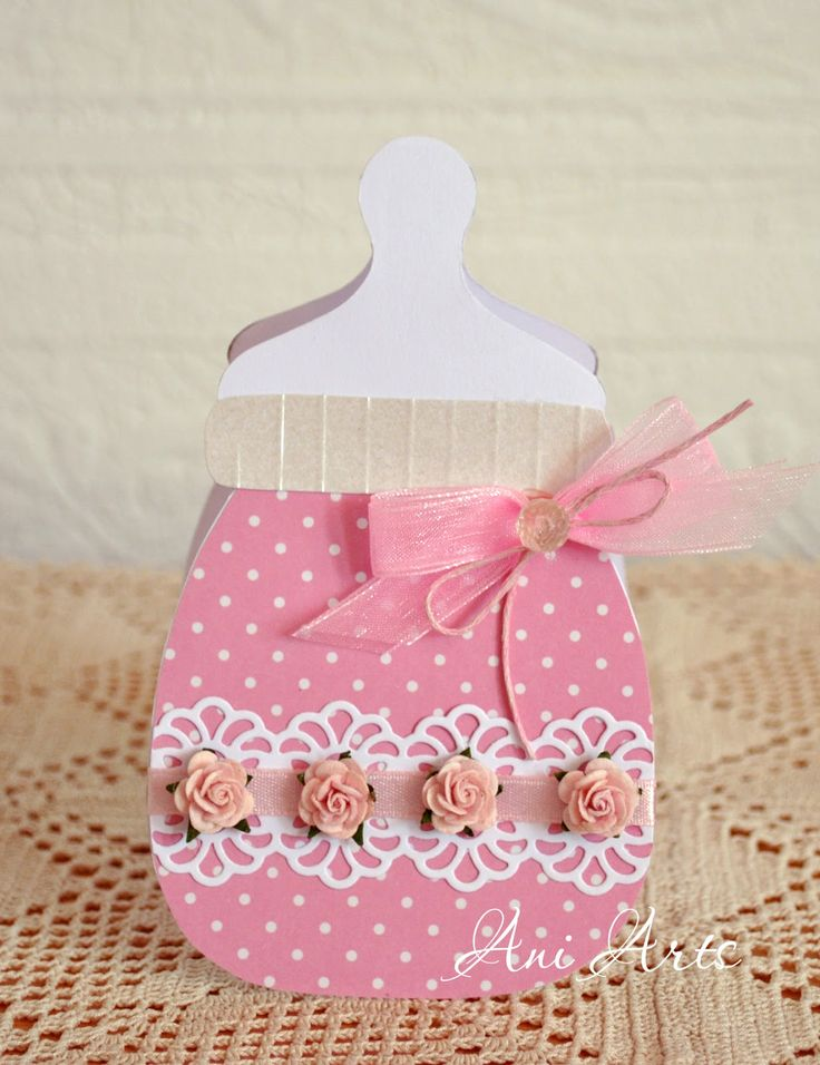 baby bottle shaped card  Ani Arts