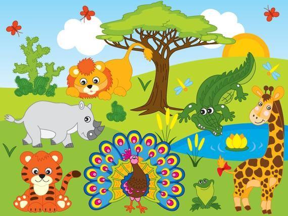 Jungle Animals Clipart Digital Vector Safari Animals African Jungle Animals Clip Art In 2021 Animal Clipart Jungle Animals Safari Animals