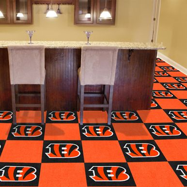 show off your favorite team in a big way with the cincinnati bengals carpet tiles