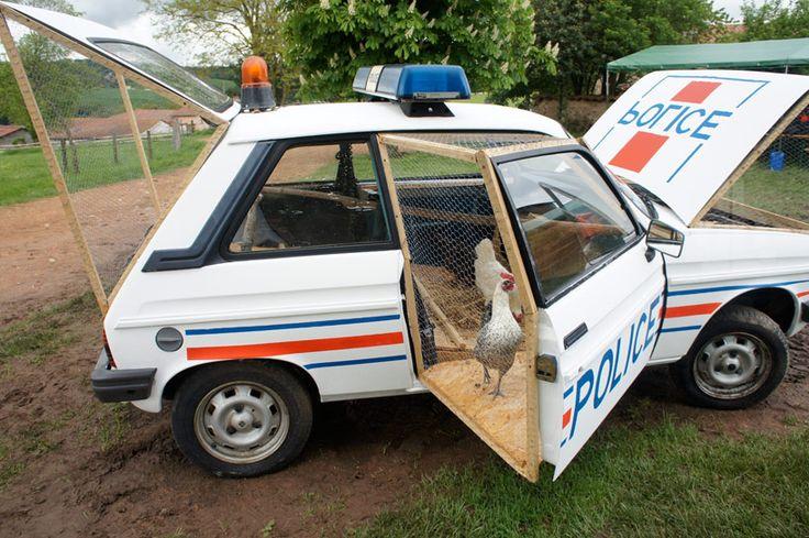 benedetto bufalino repurposes a police car as a chicken coop