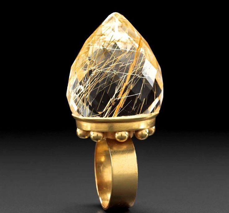 Золотое кольцо с рутиловым кварцем. DANIEL KRUGER, Германия, 1996 г.