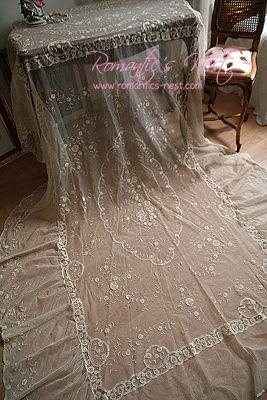 Romantics Nest Antique Brussels Lace Bedspread