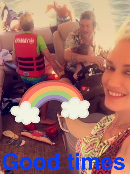 Gwen Stefani Snapchats Son Apollo Driving a Boat (with a Little Help from Blake Shelton) http://www.people.com/article/gwen-stefani-blake-shelton-labor-day-tishomingo