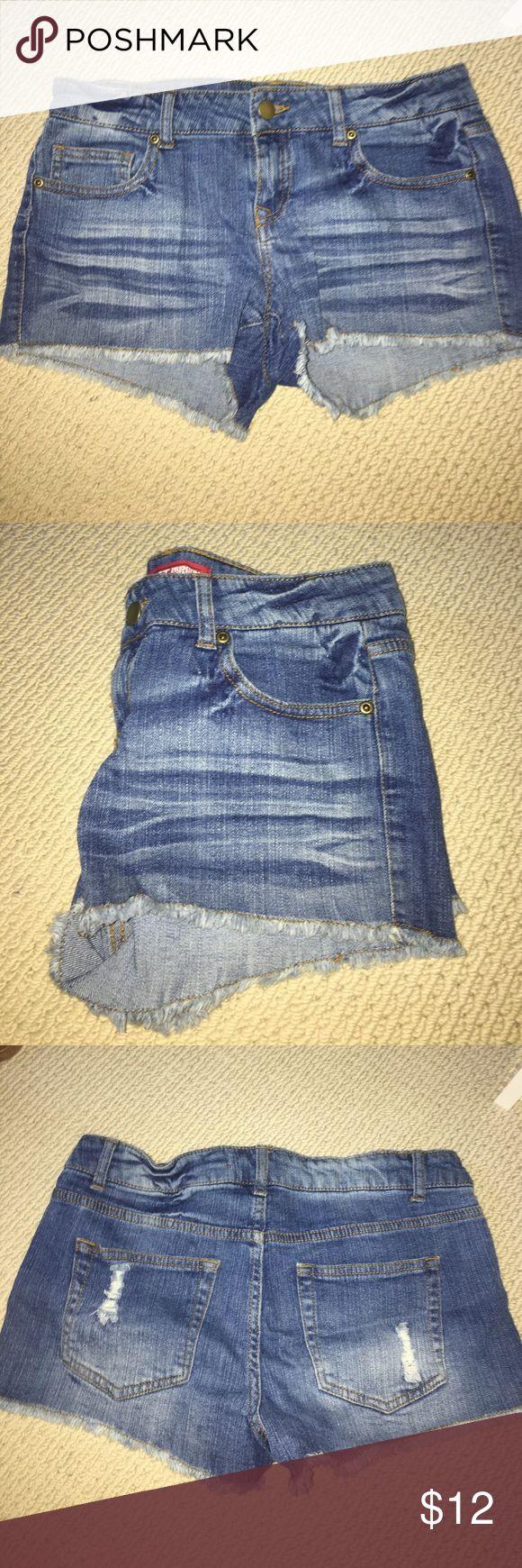 Distressed cutoff Jean shorts Distressed cut off Jean shorts. Worn once! Forever 21 Shorts Jean Shorts