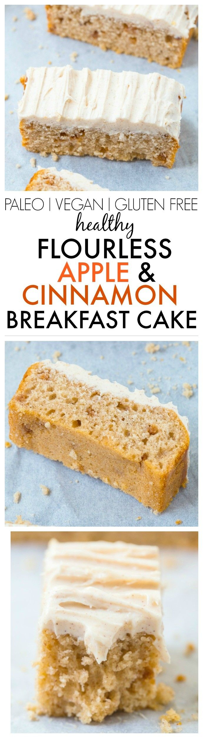 Healthy Flourless Apple Cinnamon Breakfast Cake- Light and slightly fluffy on the inside, tender on the outside, have a guilt free dessert for breakfast- Absolutely NO butter, oil, flour or sugar! {vegan, gluten free, paleo recipe} - thebigmansworld.com