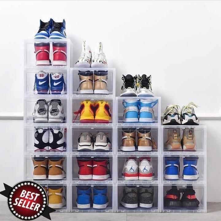 Large Drop Front Shoe Box Shoe Box Storage Shoe Organization Closet Drop Front Shoe Box