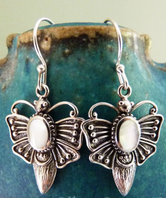 Sterling silver mother of pearl butterfly earrings