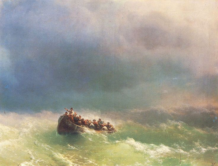 Ivan Konstantinovich Aivazovsky. On the Storm, Original Size: 72 x 92 cm, Date: 1872. Buy this painting as premium quality canvas art print from Modarty Art Gallery. #art, #canvas, #design, #painting, #print, #poster, #decoration