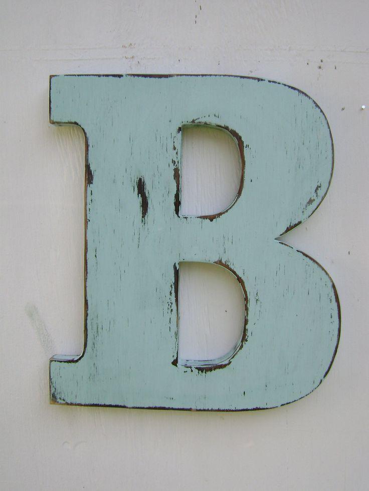 "Rustic Wood wedding decor Letter, B Distressed Spa Blu,Wood Alphabet Letters,12"" tall Wood Name Letters, Custom Wedding Gift. $28.00, via Etsy."