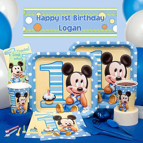 Mickey Mouse First Birthday party supplies feature Baby Mickey ...