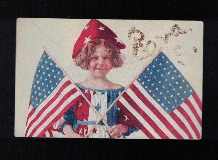 C 1915 Little Girl In Patriotic Dress & Hat Holding 48 Star Flags Post Card