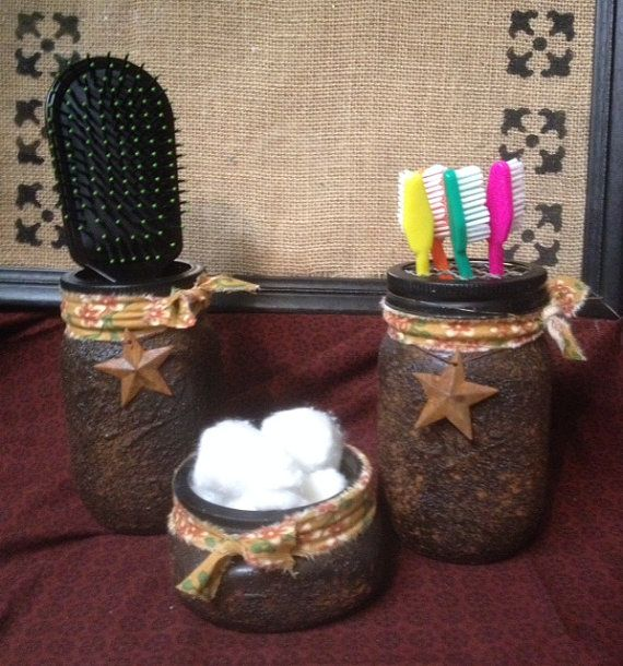 Image On  piece rustic bathroom organizer set toothbrush holder brush holder cotton ball holder