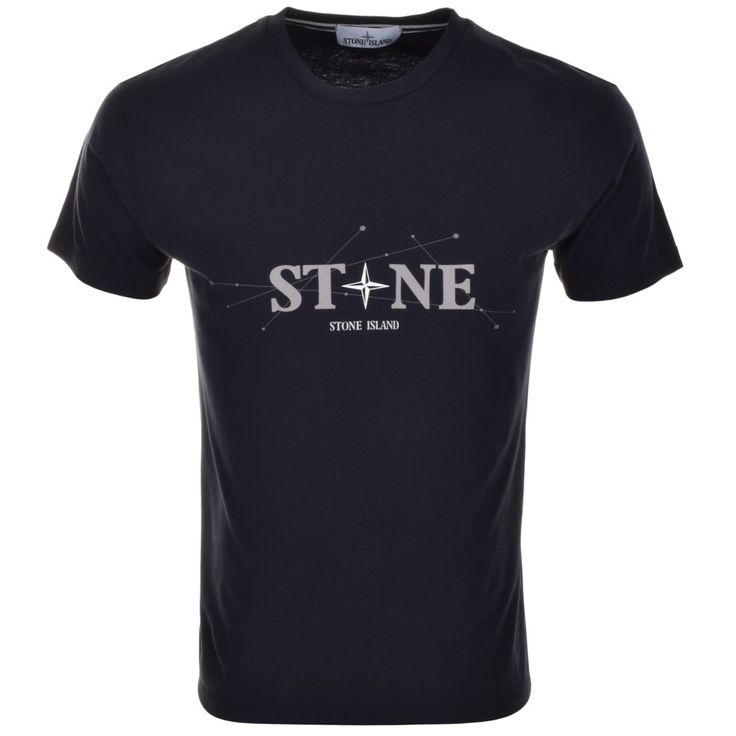 Stone Island Crew Neck Logo T Shirt Blue | Mainline Menswear