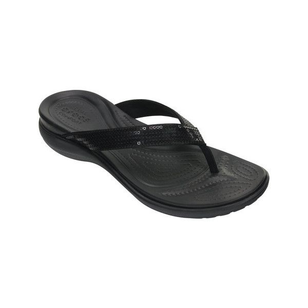 Women's Crocs Capri V Sequin Thong Sandal (49 CAD) ❤ liked on Polyvore featuring shoes, sandals, flip flops, black, casual, thong sandals, black shoes, beach sandals, black flip flops and black sparkly sandals