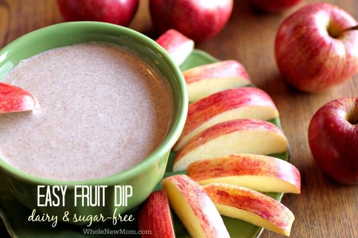 This Easy Fruit Dip is super healthy, dairy and sugar-free! Works great as a drizzle on pancakes or cake too, or eat it right off the spoon!