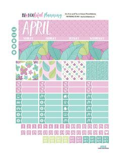 FREE Printable April Monthly Planner Stickers Kit from BEaYOUtiful Planning