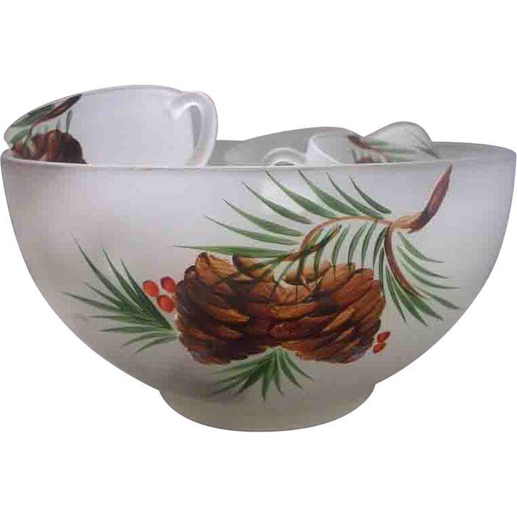 Gay Fad Pine Cone Mistletoe Holly Punch Set 13 Pc Satin Glass