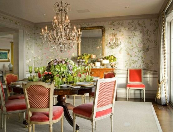 Dining Room, Degournay Wallpaper Via La Dolce Decorating Before And After  Interior Design 2012