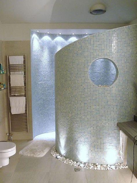 Modern, walk-in, open, mosaic, stone tile, spa shower