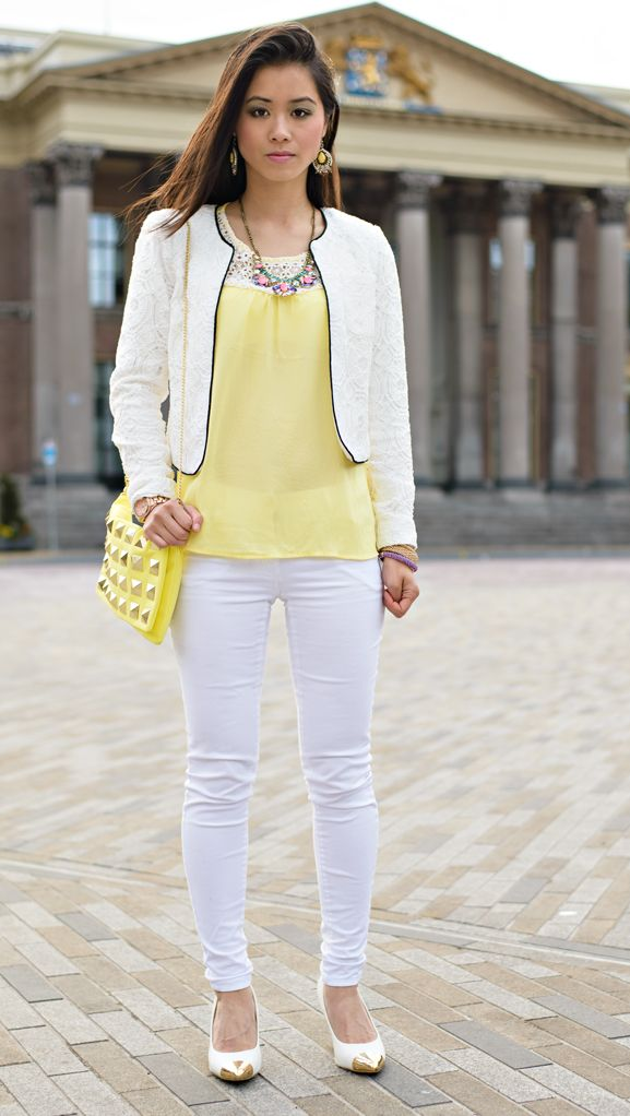 Outfit: Yellow vs White - http://www.thebeautymusthaves.com/2013/05/outfit-yellow-vs-white.html