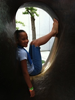 Me on the Henry Moore sculpture