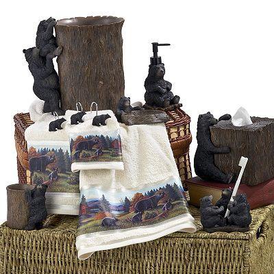 Avanti Black Bear Lodge Bath Accessories Lodge Theme For
