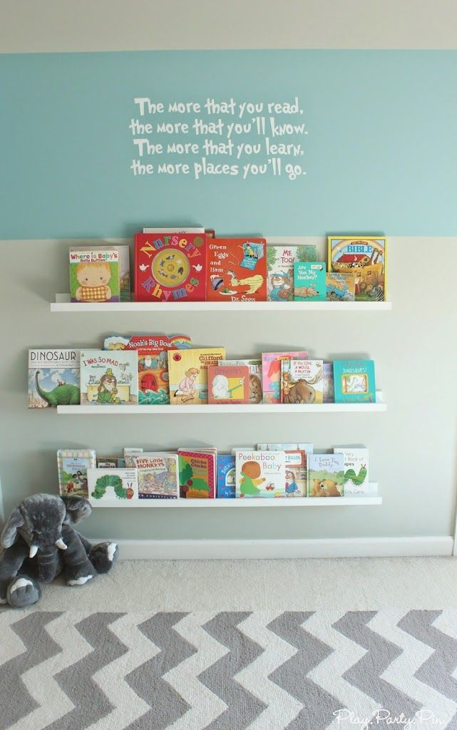 Such a cute reading wall in a nursery from playpartypin.com #nursery #books #shelves