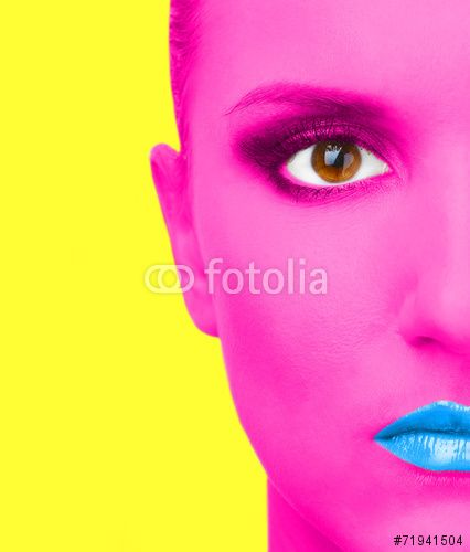 Portrait of woman with pink skin and blue lips ©Africa Studio