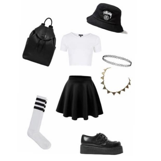 Hat: Stussy Bucket Hat Top: Topshop Skirt: Ripness Skirt Backpack: Topshop Shoes: Underground