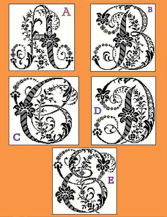 Monogramm Muster große antike Floral dekorative antike Alphabet Buchstaben-Set 1 gezählt Kreuz Stichbild PDF