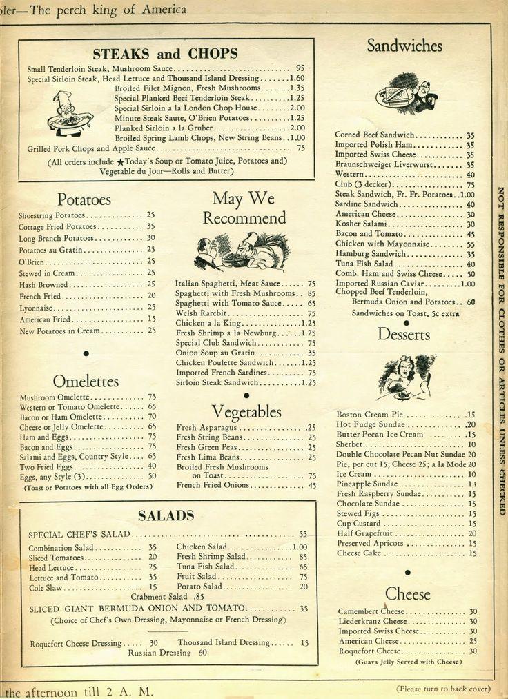 59 best images about 1940s restaurants menus on. Black Bedroom Furniture Sets. Home Design Ideas