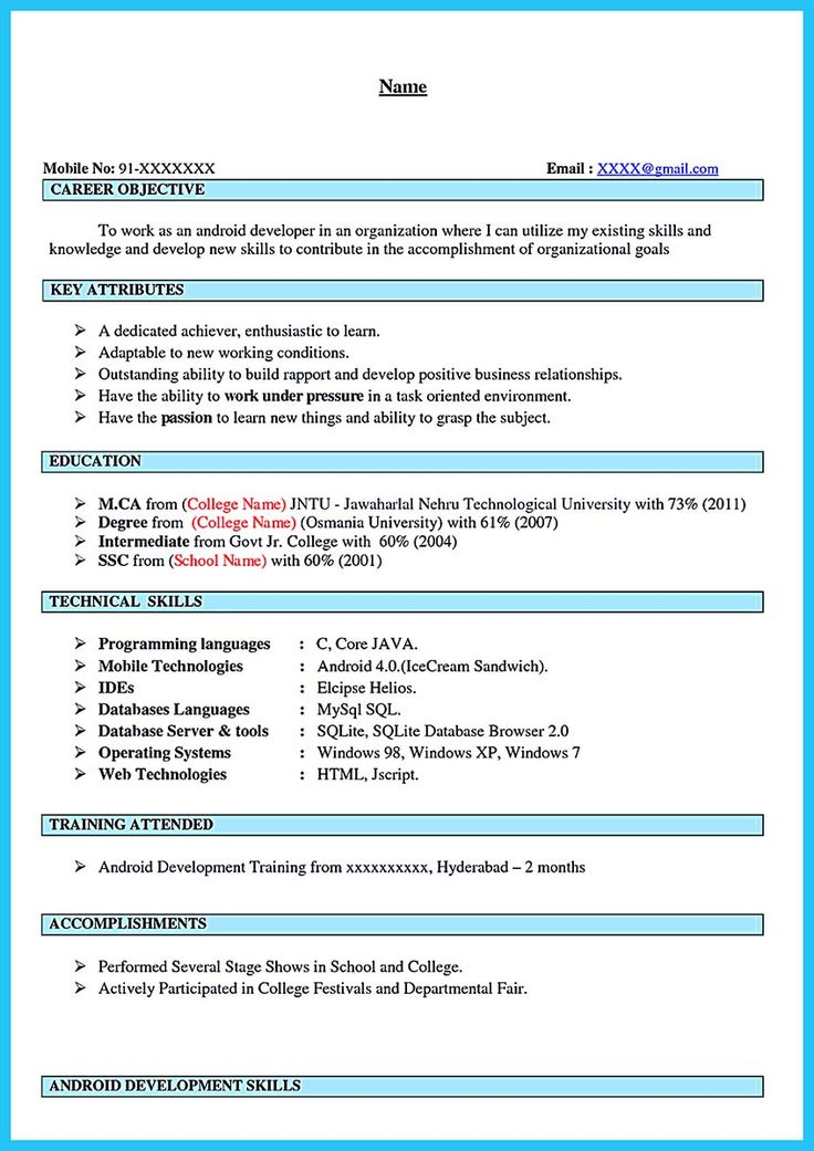 Android Developer Resume Laborer Apprenticeship Android Developer